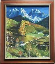 H(arry) Ridley(1912~1992)~original painting~Mountain & Village~gallery framed