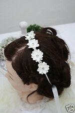 Haarreif zarte Blüten weiß-silber, Kommunion Blumenkind, Gänseblümchen