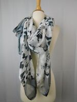 Lola Rose London Oversize Vintage Botanics Printed Wrap Scarf Grey-Black #4647