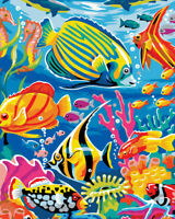 DIY Paint By Number Acrylic Oil Painting On Canvas Undersea Fish Kid Surprise