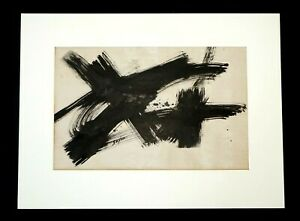 1960s California Black & White Abstract Painting by Dorothy Saxon Wegner (RuJ)