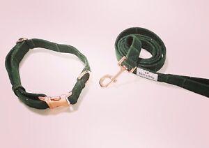 Green Tartan Dog Collar & Lead Matching Set with Rose Gold
