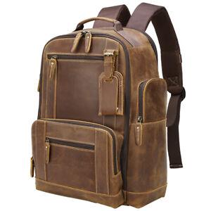 """Men Leather Travel Backpack Overnight Daypack 17"""" Laptop Bag Satchel School Bag"""