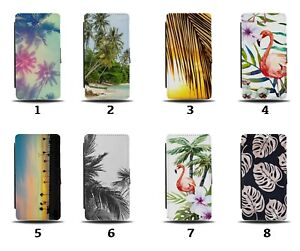 Paradise Flip Wallet Case Palm Trees Leaves Island Summer Vintage Retro 8159a