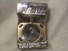 Decor Bathware Brush & Tumbler Holder w/Tray USA Brass + Americana III D2705