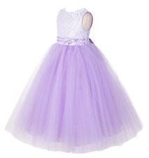 Lace Tulle tutu Flower Girl Dresses Pageant Dress Princess Gown Baptism Wedding