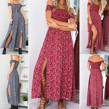 Women's Casual Off Shoulder Boho Floral Split Long Maxi Summer Beach Dress Eager