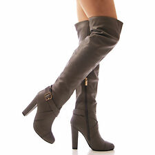 LADIES WOMENS OVER THE KNEE BOOTS HIGH HEEL FAUX LEATHER ZIP UP SHOES NEW SIZE