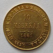 Selten! Finnland 10 Markkaa 1881 S, unter Zar Alexander III.