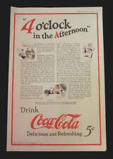 1924 Vintage Coke Coca-Cola very large print ad - 4 o'clock in the afternoon