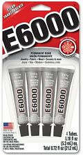 E-6000 4-TUBES INDUSTRIAL STRENGTH ADHESIVE CLEAR FLEXIBLE PAINTABLE CRAFT GLUE