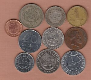 TEN BRAZIL & BOLIVIA 1869 TO 2012 IN VERY FINE OR BETTER CONDITION