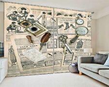 Scissor Magnifier Clock 3D Curtain Blockout Photo Printing Curtains Drape Fabric