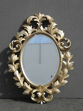 French Provincial Rococo Silver & Gold Flourishes Oval Wall Beveled Mirror