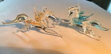 2 Blown Glass Pegasus Horse Figurines Mythical 5�
