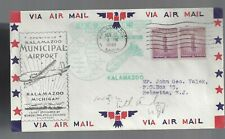 Kalamazoo Mich Airport Dedication/First Flight combo cover 1949 to Indianapolis