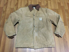 MENS 44 - Vtg Carhartt C03 Duck Arctic Quilted Lined Distressed Coat Jacket USA