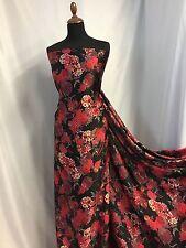 "Beautiful Soft Silky Crepe-de-chine Matt Satin Floral Print Fabric 60""154cm Jane"