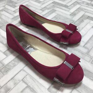Michael Kors Kiera Ballet Bow Flats Shoes Fuchsia Pink Suede Women's 8 Slip On