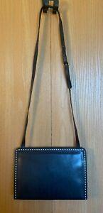 Salvatore Ferragamo Vintage Navy Blue & White Leather Snap Closure Handbag