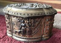 Vintage Copper Velvet Lined Oval Shaped Jewelry Trinket Box (Lidded)