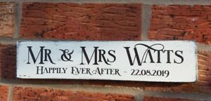 Wedding happily ever after personalised free standing sign shabby vintage chic