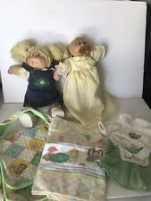 2 Vintage Cabbage Patch Dolls with clothing diaper bag blanket paperwork 1983
