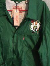 Levis Boston Celtics NBA Mens Coaches Jacket Size XL Green Lightweight Logo
