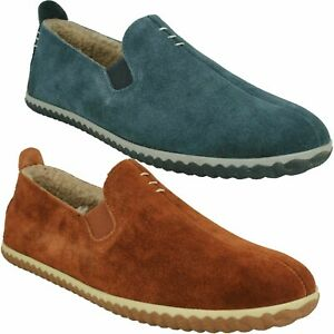 HOME CHEER MENS CLARKS FUR LINED WARM WINTER SLIP ON INDOOR FULL SLIPPERS SHOES