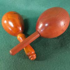 Antique Primitive Wooden Sock Darner Eggs set of 2, Small and Large w Pin Holder