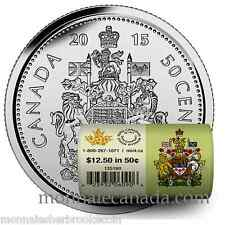 2015 Canada 50 Cents - BU ROLL 25 Coins Special Wrap - B565