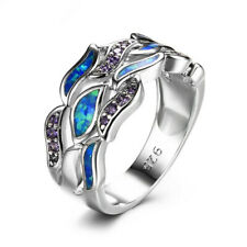 Exquisite Blue Imitation Opal&Amethyst Ring Silver Wedding Jewelry Gift Size 6