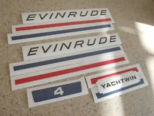 Evinrude Yachtwin Outboard Vintage Decal Kit 4 HP FREE SHIP + FREE Fish Decal!
