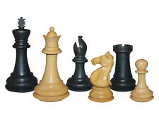 "Wood Chess Set Weighted Pieces Majestic Staunton Ebony/Boxwood 4""+2 Extra Queens"