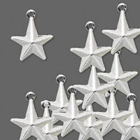 Star Charms 3-D Silver Lightweight Pressed Metal Jewelry Lot of 50