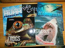 Lot of 5 NATIONAL GEOGRAPHIC KIDS Books FROGS Sea Monsters MAMMOTH Sharks