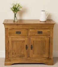 French Rustic Solid Oak Wood Small Sideboard Storage Cabinet Cupboard Furniture