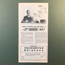 Thomas Edison Voice Writer Ediphone  1945 Vintage Original Print Ad