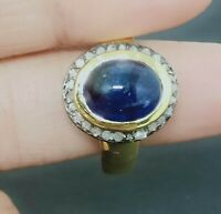 Blue Sapphire Ring Sterling Silver Ring Pave Diamond Vintage Oval Ring