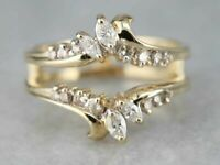 1Ct Marquise Cut Diamond 14K Yellow Gold Over Enhancer Wedding Wrap Ring Guard