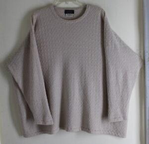 "Eskandar O/S Wheat Natural Intricate 30""L Basketweave Cashmere Crewneck Sweater"
