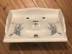 original NEW rare SANITAN Large Basin Sink VICTORIAN BLUE GARDEN 2TH vintage