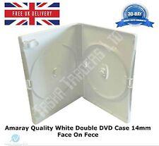 200 double boîtier DVD blanc 14 mm spine nouveau remplacement couvrir détient 2 disques Amaray