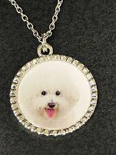 """Dog Bichon Frise Charm Tibetan Silver 18"""" Necklace BF3"""