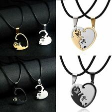 2Psc Stainless Steel Couple Cut Cat Heart Pendant Necklace Leather Rope Jewelry