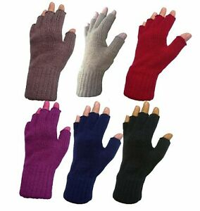 Ladies Warm Fine Knit Thermal Finger less Winter Gloves Half Finger Thermal
