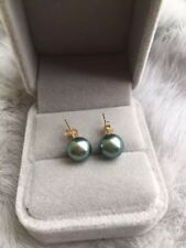 New 9-9.5mm AAA black green round  natural tahitian pearl earrings 14k gold