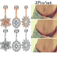 3 PCS Stainless Steel Charm Belly Button Navel Ring Nails Body Piercing Jewelry