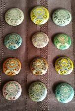 Full Set of 12 1938 C.I.O UAW Trade Union Buttons #C680