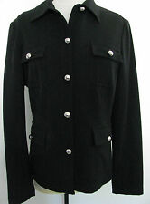 VESTI  Black Jacket With Silver Colored Front Button Design Size 8